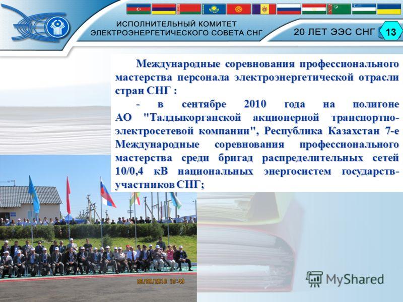 Международные соревнования профессионального мастерства персонала электроэнергетической отрасли стран СНГ : - в сентябре 2010 года на полигоне АО