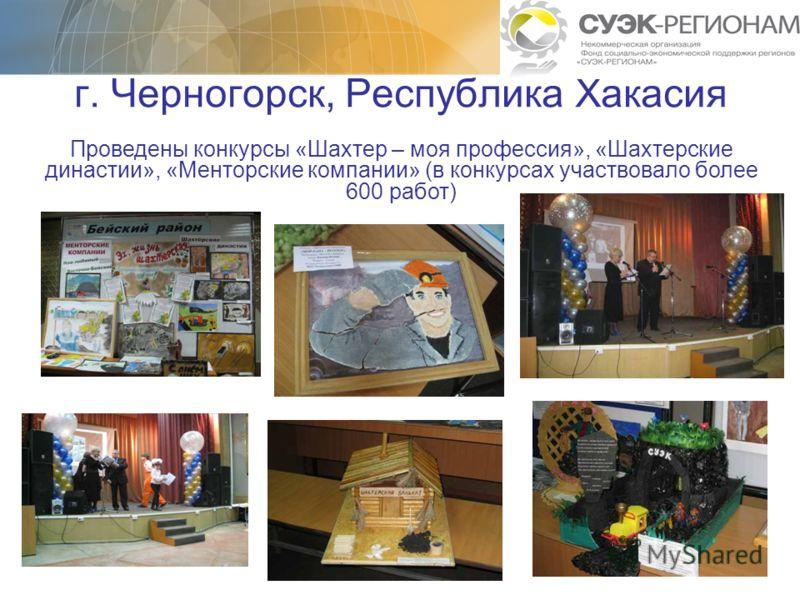 г. Черногорск, Республика Хакасия Проведены конкурсы «Шахтер – моя профессия», «Шахтерские династии», «Менторские компании» (в конкурсах участвовало более 600 работ)