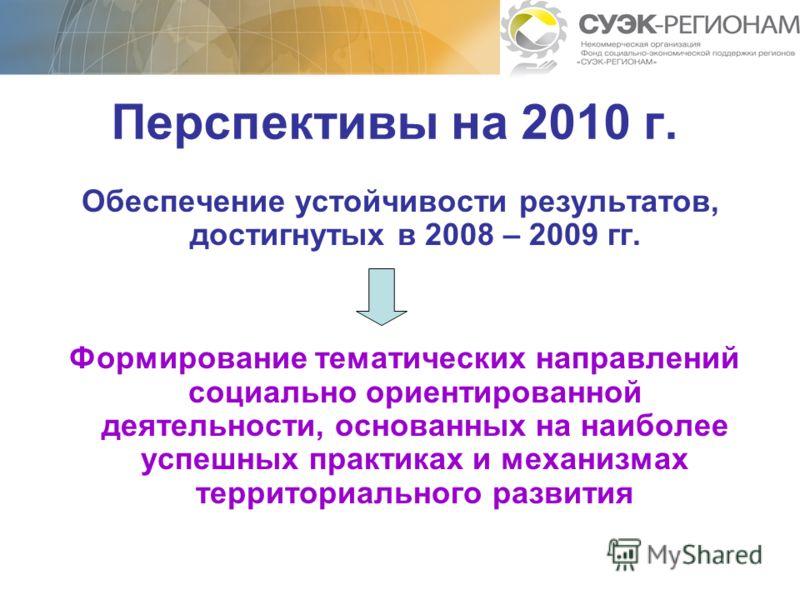 Перспективы на 2010 г. Обеспечение устойчивости результатов, достигнутых в 2008 – 2009 гг. Формирование тематических направлений социально ориентированной деятельности, основанных на наиболее успешных практиках и механизмах территориального развития