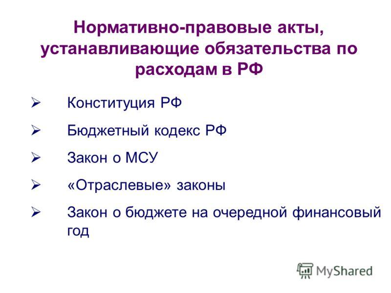 Конституция РФ Бюджетный кодекс РФ Закон о МСУ «Отраслевые» законы Закон о бюджете на очередной финансовый год Нормативно-правовые акты, устанавливающие обязательства по расходам в РФ