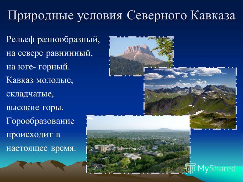Природные условия Северного Кавказа Рельеф разнообразный, на севере равнинный, на юге- горный. Кавказ молодые, складчатые, высокие горы. Горообразование происходит в настоящее время.