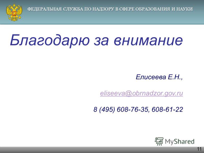 ФЕДЕРАЛЬНАЯ СЛУЖБА ПО НАДЗОРУ В СФЕРЕ ОБРАЗОВАНИЯ И НАУКИ 11 Благодарю за внимание Елисеева Е.Н., eliseeva@obrnadzor.gov.ru 8 (495) 608-76-35, 608-61-22