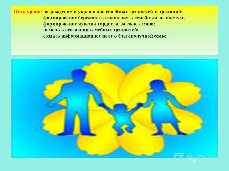 Цель урока: возрождение и укрепление семейных ценностей и традиций; формирование бережного отношения к семейным ценностям; формирование чувства гордости за свою семью; помочь в осознании семейных ценностей; создать информационное поле о благополучной