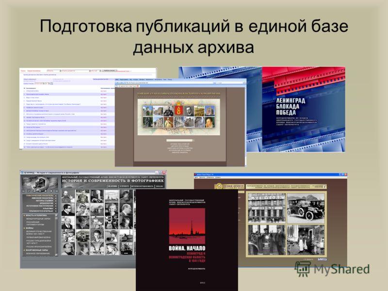 Подготовка публикаций в единой базе данных архива