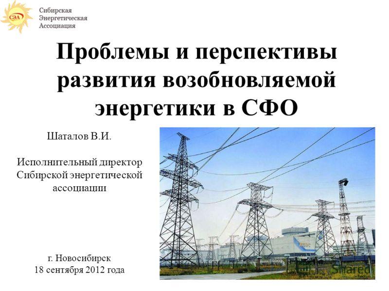 Проблемы и перспективы развития возобновляемой энергетики в СФО 1 Шаталов В.И. Исполнительный директор Сибирской энергетической ассоциации г. Новосибирск 18 сентября 2012 года