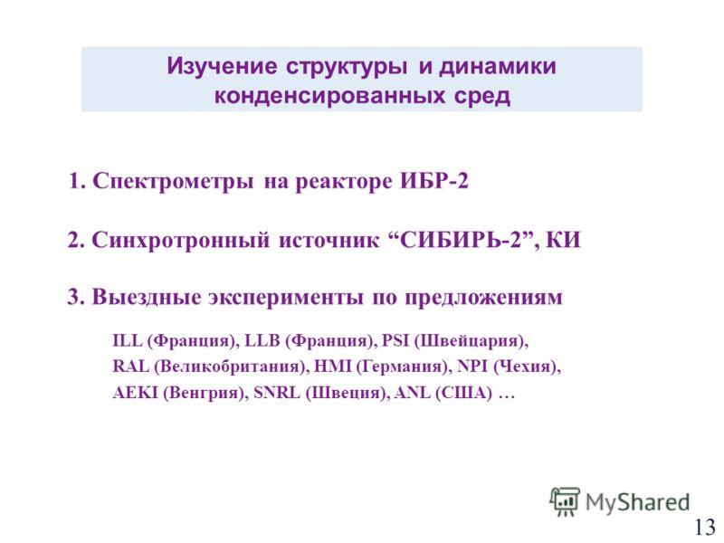 13 Изучение структуры и динамики конденсированных сред 1. Спектрометры на реакторе ИБР-2 2. Синхротронный источник СИБИРЬ-2, КИ 3. Выездные эксперименты по предложениям ILL (Франция), LLB (Франция), PSI (Швейцария), RAL (Великобритания), HMI (Германи