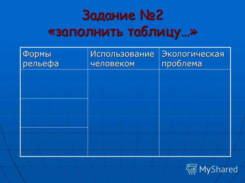 Задание 2 «заполнить таблицу…» Формы рельефа Использование человеком Экологическая проблема