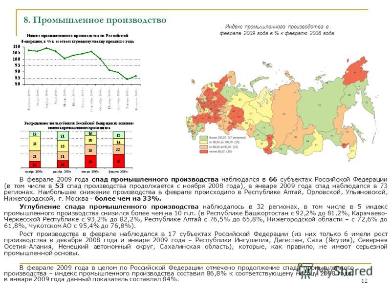 12 8. Промышленное производство В феврале 2009 года спад промышленного производства наблюдался в 66 субъектах Российской Федерации (в том числе в 53 спад производства продолжается с ноября 2008 года), в январе 2009 года спад наблюдался в 73 регионах.