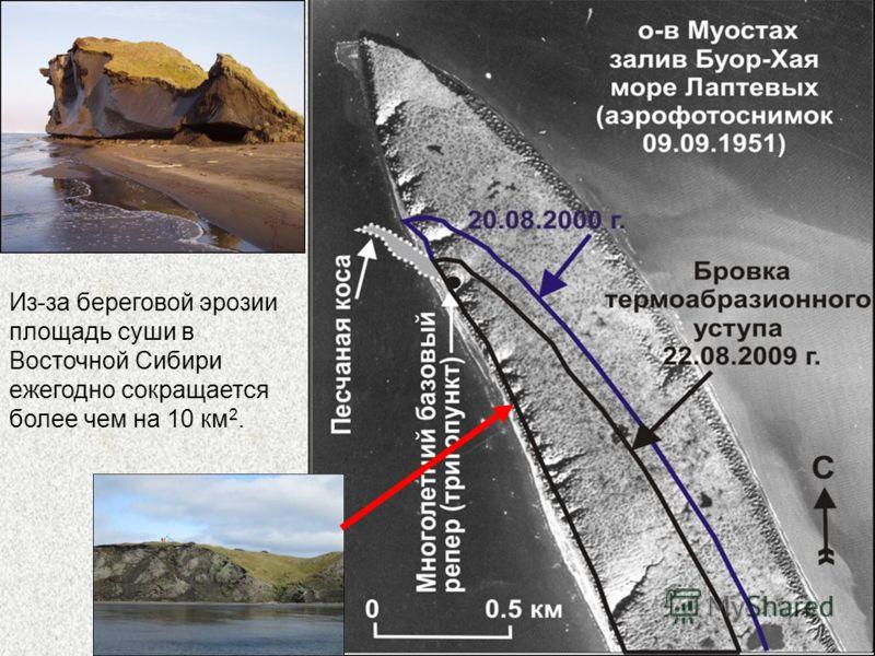 Из-за береговой эрозии площадь суши в Восточной Сибири ежегодно сокращается более чем на 10 км 2.