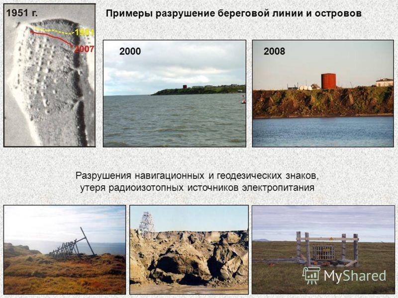 Примеры разрушение береговой линии и островов 20002008 Разрушения навигационных и геодезических знаков, утеря радиоизотопных источников электропитания