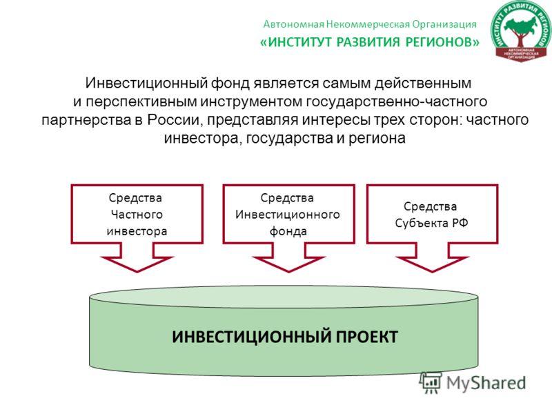 Инвестиционный фонд является самым действенным и перспективным инструментом государственно-частного партнерства в России, представляя интересы трех сторон: частного инвестора, государства и региона ИНВЕСТИЦИОННЫЙ ПРОЕКТ Средства Инвестиционного фонда