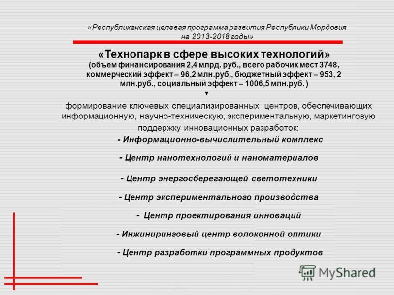 «Технопарк в сфере высоких технологий» (объем финансирования 2,4 млрд. руб., всего рабочих мест 3748, коммерческий эффект – 96,2 млн.руб., бюджетный эффект – 953, 2 млн.руб., социальный эффект – 1006,5 млн.руб. ) формирование ключевых специализирован