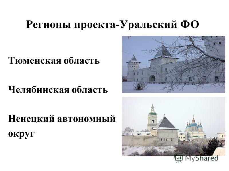 11 Регионы проекта-Уральский ФО Тюменская область Челябинская область Ненецкий автономный округ
