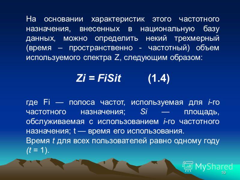 10 На основании характеристик этого частотного назначения, внесенных в национальную базу данных, можно определить некий трехмерный (время – пространственно - частотный) объем используемого спектра Z, следующим образом: Zi = FiSit(1.4) где Fi полоса ч