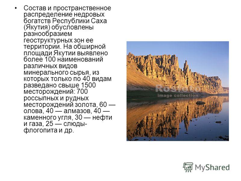 Состав и пространственное распределение недровых богатств Республики Саха (Якутия) обусловлены разнообразием геоструктурных зон ее территории. На обширной площади Якутии выявлено более 100 наименований различных видов минерального сырья, из которых т