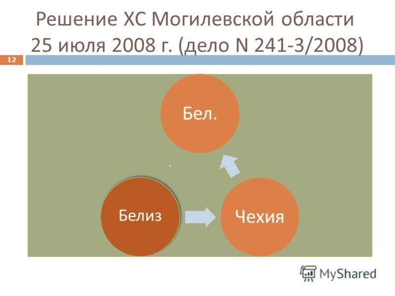 Решение ХС Могилевской области 25 июля 2008 г. ( дело N 241-3/2008) 12 Бел. Чехия Белиз