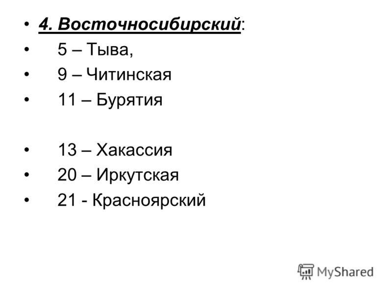 4. Восточносибирский: 5 – Тыва, 9 – Читинская 11 – Бурятия 13 – Хакассия 20 – Иркутская 21 - Красноярский