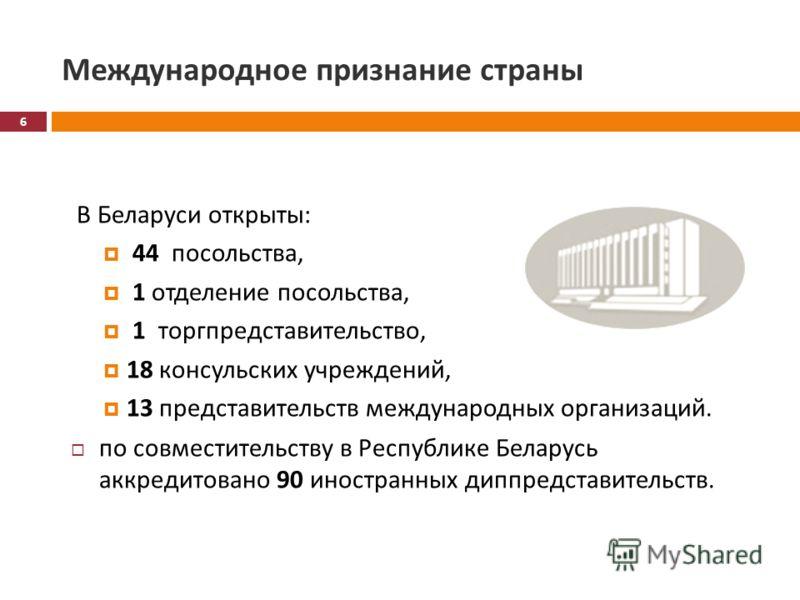 Международное признание страны В Беларуси открыты : 44 посольства, 1 отделение посольства, 1 торгпредставительство, 18 консульских учреждений, 13 представительств международных организаций. по совместительству в Республике Беларусь аккредитовано 90 и