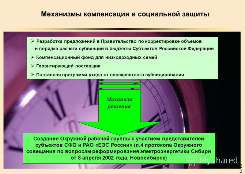 22 Механизмы компенсации и социальной защиты Создание Окружной рабочей группы с участием представителей субъектов СФО и РАО «ЕЭС России» (п.4 протокола Окружного совещания по вопросам реформирования электроэнергетики Сибири от 8 апреля 2002 года, Нов