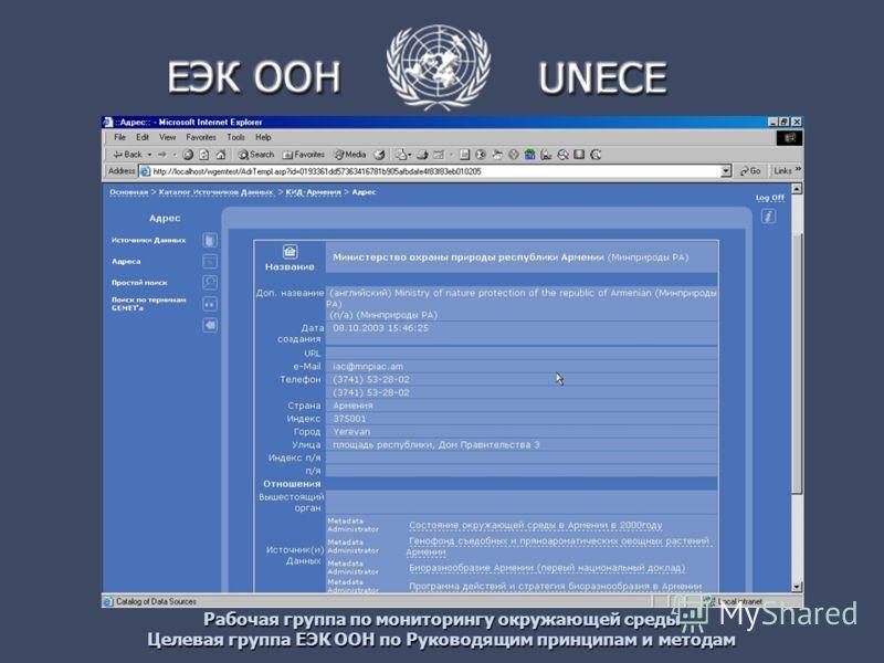 Рабочая группа по мониторингу окружающей среды Целевая группа ЕЭК ООН по Руководящим принципам и методам
