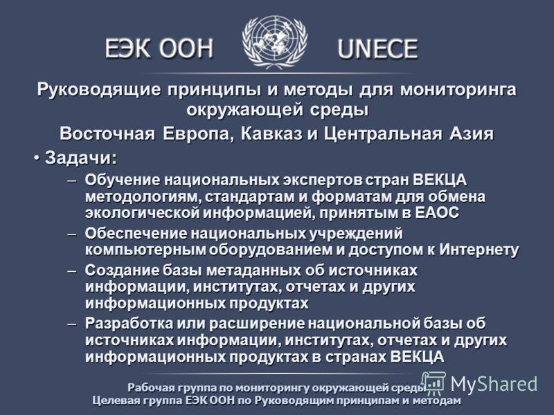 Рабочая группа по мониторингу окружающей среды Целевая группа ЕЭК ООН по Руководящим принципам и методам Руководящие принципы и методы для мониторинга окружающей среды Восточная Европа, Кавказ и Центральная Азия Задачи: Задачи: –Обучение национальных