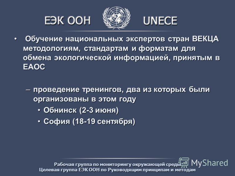 Рабочая группа по мониторингу окружающей среды Целевая группа ЕЭК ООН по Руководящим принципам и методам Обучение национальных экспертов стран ВЕКЦА методологиям, стандартам и форматам для обмена экологической информацией, принятым в ЕАОС Обучение на