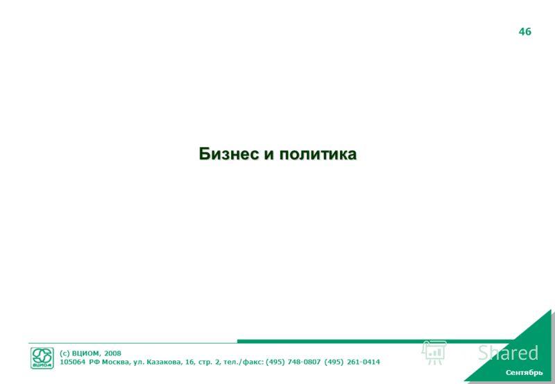 (с) ВЦИОМ, 2008 105064 РФ Москва, ул. Казакова, 16, стр. 2, тел./факс: (495) 748-0807 (495) 261-0414 46 Бизнес и политика Сентябрь