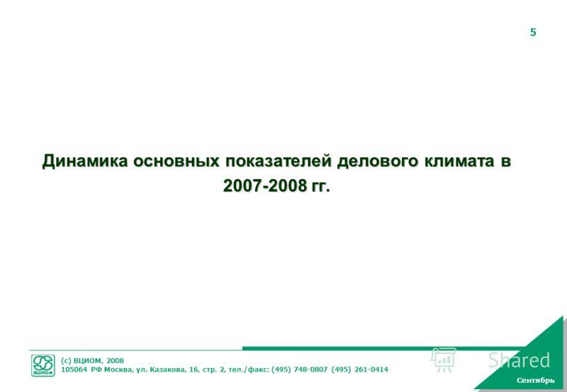(с) ВЦИОМ, 2008 105064 РФ Москва, ул. Казакова, 16, стр. 2, тел./факс: (495) 748-0807 (495) 261-0414 5 Динамика основных показателей делового климата в 2007-2008 гг. Сентябрь