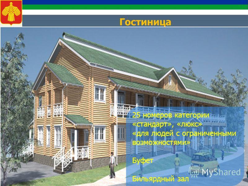 Гостиница 25 номеров категории «стандарт», «люкс» «для людей с ограниченными возможностями» Буфет Бильярдный зал