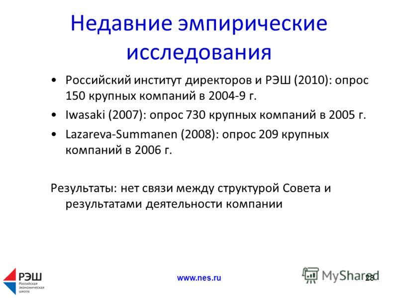 Недавние эмпирические исследования Российский институт директоров и РЭШ (2010): опрос 150 крупных компаний в 2004-9 г. Iwasaki (2007): опрос 730 крупных компаний в 2005 г. Lazareva-Summanen (2008): опрос 209 крупных компаний в 2006 г. Результаты: нет