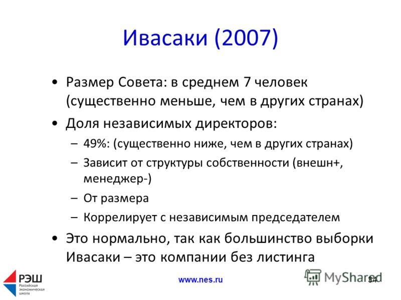 Ивасаки (2007) Размер Совета: в среднем 7 человек (существенно меньше, чем в других странах) Доля независимых директоров: –49%: (существенно ниже, чем в других странах) –Зависит от структуры собственности (внешн+, менеджер-) –От размера –Коррелирует