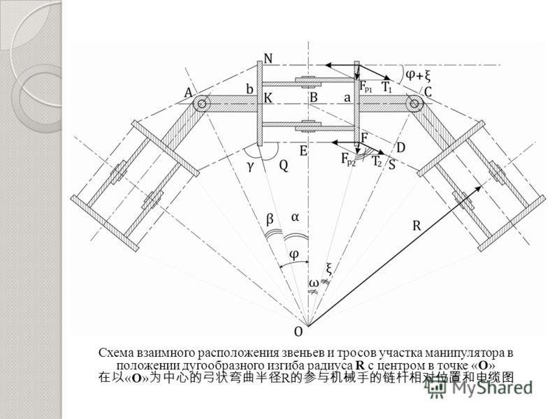 Схема взаимного расположения звеньев и тросов участка манипулятора в положении дугообразного изгиба радиуса R с центром в точке «O» «O» R