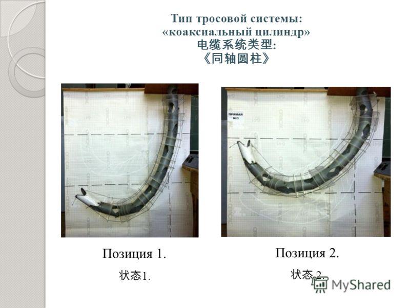 Тип тросовой системы: «коаксиальный цилиндр» : Позиция 1. 1. Позиция 2. 2.