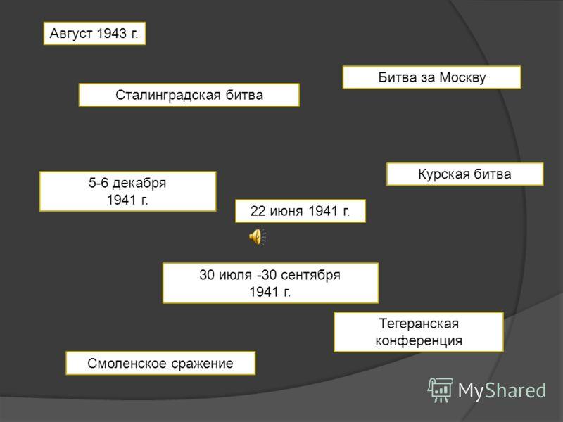 22 июня 1941 г. Смоленское сражение Сталинградская битва Битва за Москву 30 июля -30 сентября 1941 г. 5-6 декабря 1941 г. Курская битва Тегеранская конференция Август 1943 г.