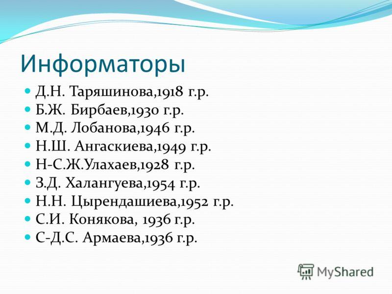 Информаторы Д.Н. Таряшинова,1918 г.р. Б.Ж. Бирбаев,1930 г.р. М.Д. Лобанова,1946 г.р. Н.Ш. Ангаскиева,1949 г.р. Н-С.Ж.Улахаев,1928 г.р. З.Д. Халангуева,1954 г.р. Н.Н. Цырендашиева,1952 г.р. С.И. Конякова, 1936 г.р. С-Д.С. Армаева,1936 г.р.
