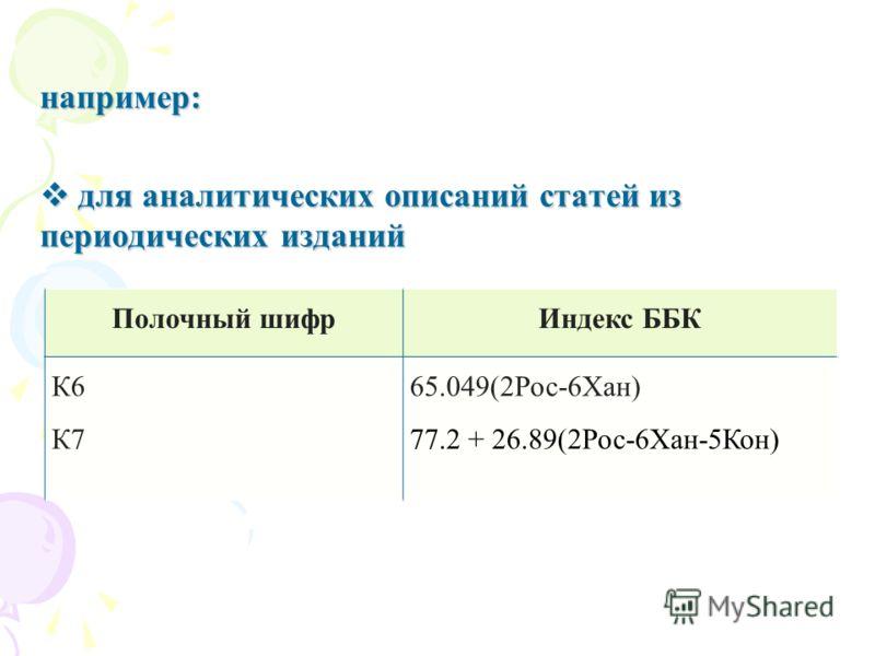 например: для аналитических описаний статей из периодических изданий для аналитических описаний статей из периодических изданий Полочный шифрИндекс ББК К6 К7 65.049(2Рос-6Хан) 77.2 + 26.89(2Рос-6Хан-5Кон)