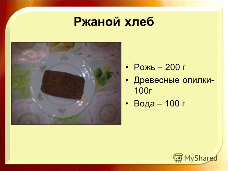 Ржаной хлеб Рожь – 200 г Древесные опилки- 100г Вода – 100 г