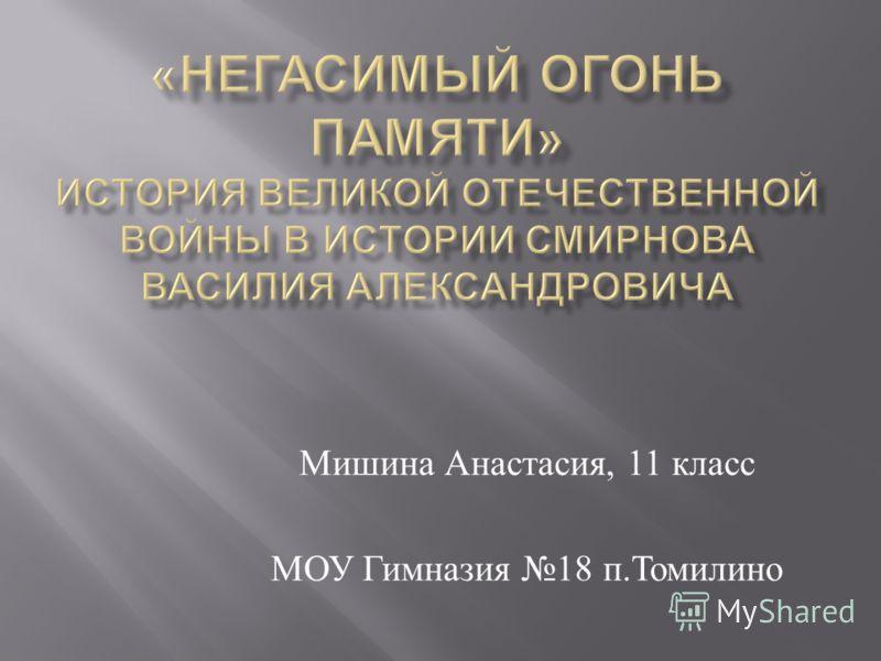 Мишина Анастасия, 11 класс МОУ Гимназия 18 п. Томилино