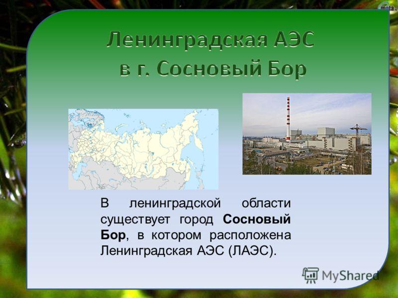 В ленинградской области существует город Сосновый Бор, в котором расположена Ленинградская АЭС (ЛАЭС).