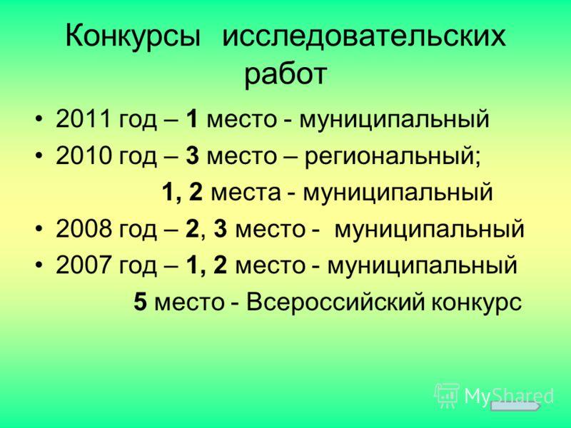 Конкурсы исследовательских работ 2011 год – 1 место - муниципальный 2010 год – 3 место – региональный; 1, 2 места - муниципальный 2008 год – 2, 3 место - муниципальный 2007 год – 1, 2 место - муниципальный 5 место - Всероссийский конкурс