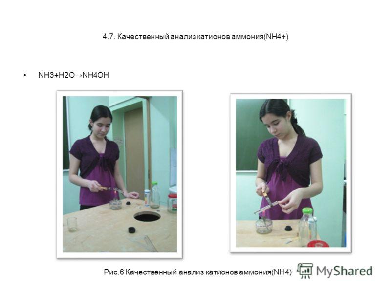 4.7. Качественный анализ катионов аммония(NH4+) NH3+H2ONH4OH Рис.6 Качественный анализ катионов аммония(NH4)