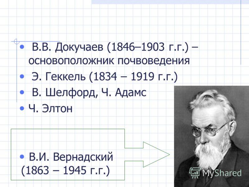 В.В. Докучаев (1846–1903 г.г.) – основоположник почвоведения Э. Геккель (1834 – 1919 г.г.) В. Шелфорд, Ч. Адамс Ч. Элтон В.И. Вернадский (1863 – 1945 г.г.)