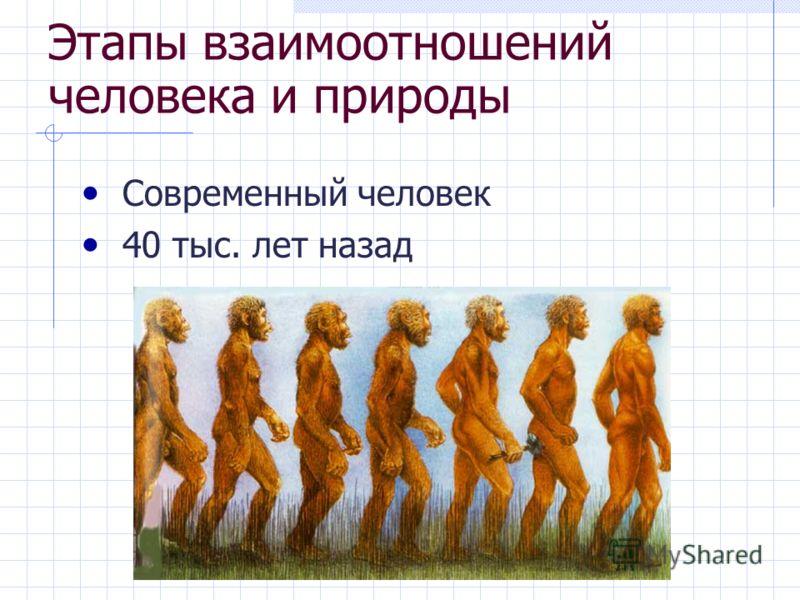 Этапы взаимоотношений человека и природы Современный человек 40 тыс. лет назад