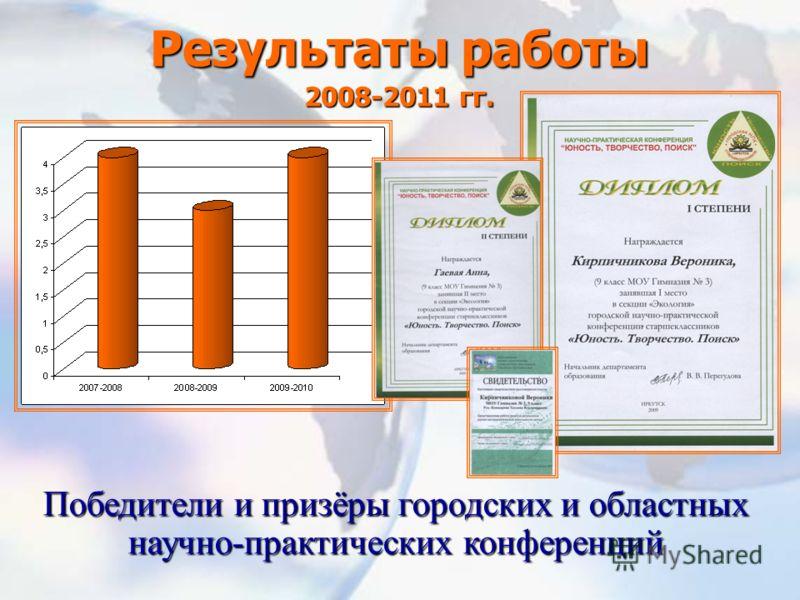 Результаты работы 2008-2011 гг. Победители и призёры городских и областных научно-практических конференций