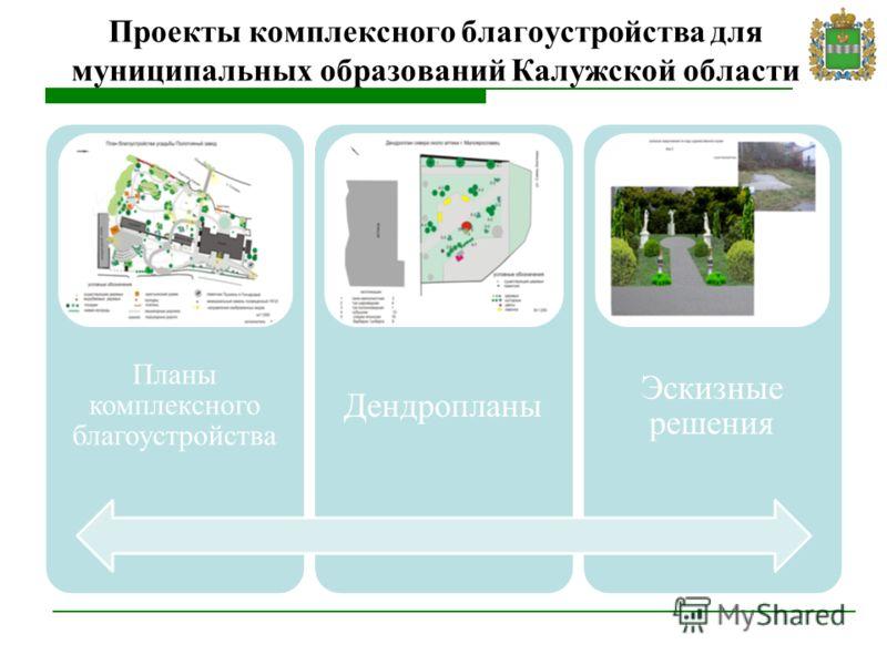 Проекты комплексного благоустройства для муниципальных образований Калужской области Планы комплексного благоустройства Дендропланы Эскизные решения