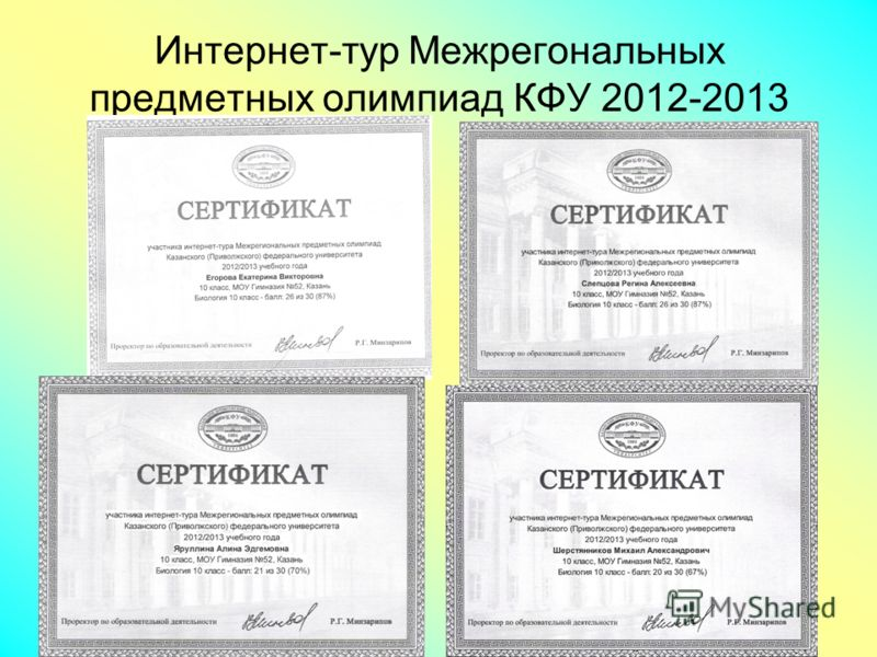 Интернет-тур Межрегональных предметных олимпиад КФУ 2012-2013