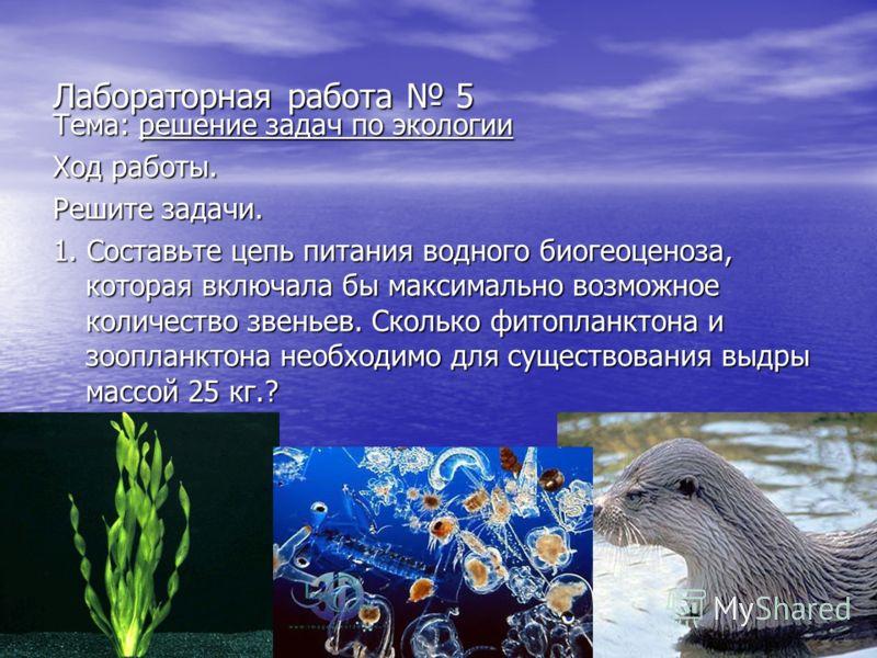 Лабораторная работа 5 Тема: решение задач по экологии Ход работы. Решите задачи. 1. Составьте цепь питания водного биогеоценоза, которая включала бы максимально возможное количество звеньев. Сколько фитопланктона и зоопланктона необходимо для существ