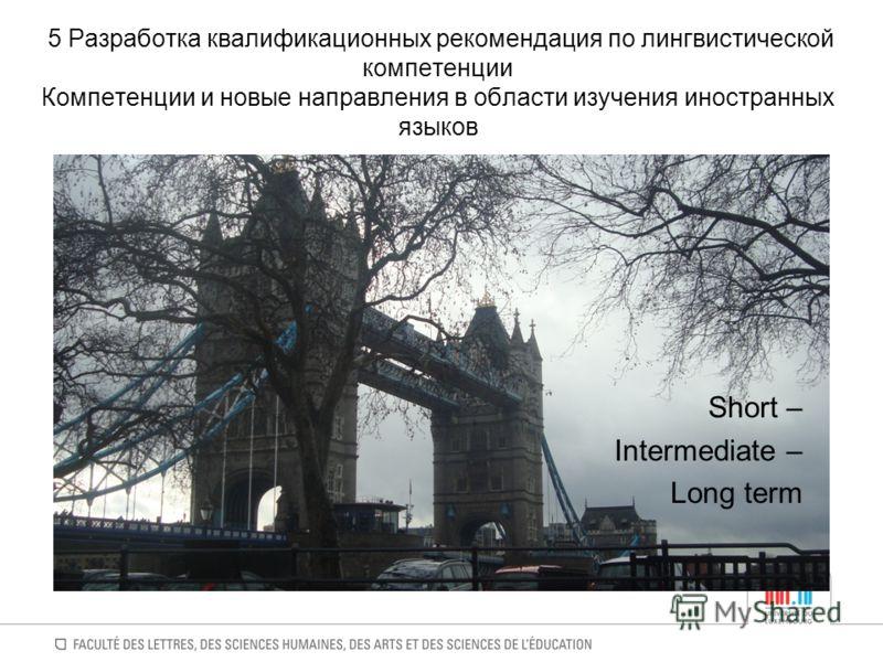5 Разработка квалификационных рекомендация по лингвистической компетенции Компетенции и новые направления в области изучения иностранных языков Short – Intermediate – Long term