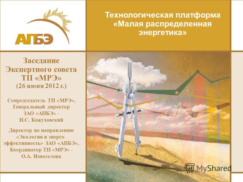 Технологическая платформа «Малая распределенная энергетика» Заседание Экспертного совета ТП «МРЭ» (26 июня 2012 г.) Сопредседатель ТП «МРЭ», Генеральный директор ЗАО «АПБЭ» - И.С. Кожуховский Директор по направлению «Экология и энерго- эффективность»