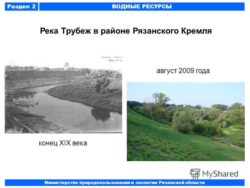 Раздел 2ВОДНЫЕ РЕСУРСЫ Министерство природопользования и экологии Рязанской области Река Трубеж в районе Рязанского Кремля конец XIX века август 2009 года